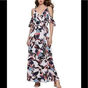 bar III Womens Watercolor Cold-Shoulder Maxi Dress